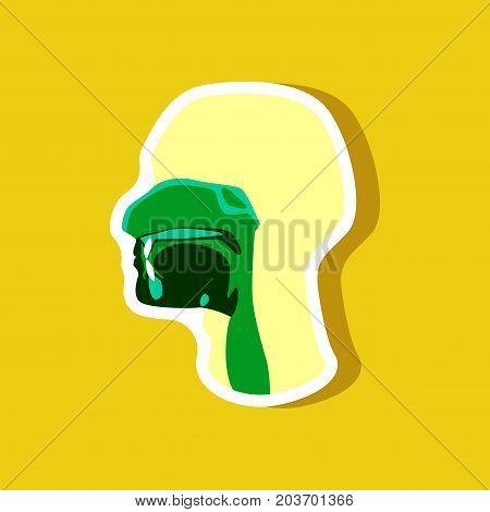 pharynx paper sticker on stylish background medicine
