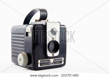 BOGOTA COLOMBIA - SEPTEMBER 2017. Antique Brownie Hawkeye camera isolated on white background