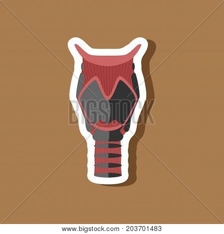 larynx paper sticker on stylish background medicine