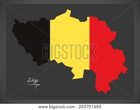 Liege Map Of Belgium With Belgian National Flag Illustration