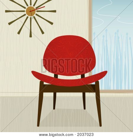 Retro-Stylized Red Chair