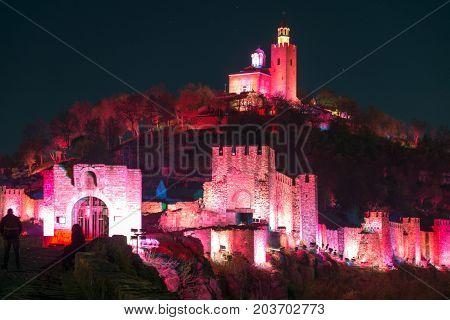 VELIKO TARNOVO, BULGARIA -  APRIL 10, 2017: Night Photo of capital city of the Second Bulgarian Empire medieval stronghold Tsarevets, Veliko Tarnovo, Bulgaria