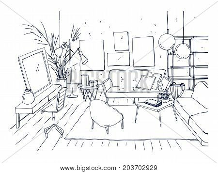 Monochrome drawing of interior of living room with sofa, chairs, coffee table and other modern furnishings. Hand drawn sketch of apartment furnished in Scandinavian or loft style. Vector illustration