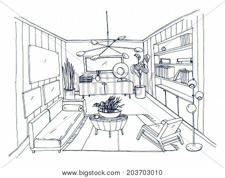 Sketch of stylish living room full of furnishings hand drawn with contour lines. Monochrome drawing of apartment furnished in Scandinavian style. Modern home interior design. Vector illustration