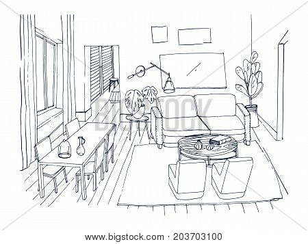 Freehand sketch of living room with window, comfortable couch, dinner table, chairs and other furnishings hand drawn with lines. Drawing of modern house furnished in cozy style. Vector illustration