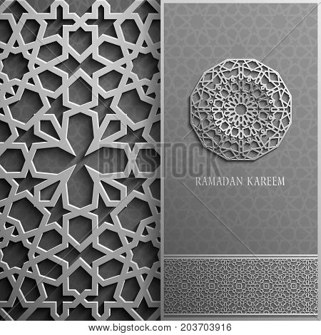 3d Ramadan Kareem greeting card, invitation islamic style.Arabic circle golden pattern.Gold ornament on black, islamic
