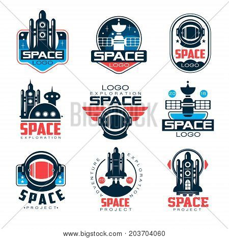 Exploration space logo set, space project vector Illustrations on a white background