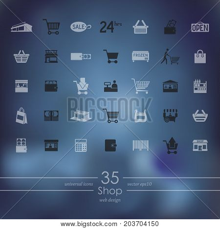 shop modern icons for mobile interface on blurred background