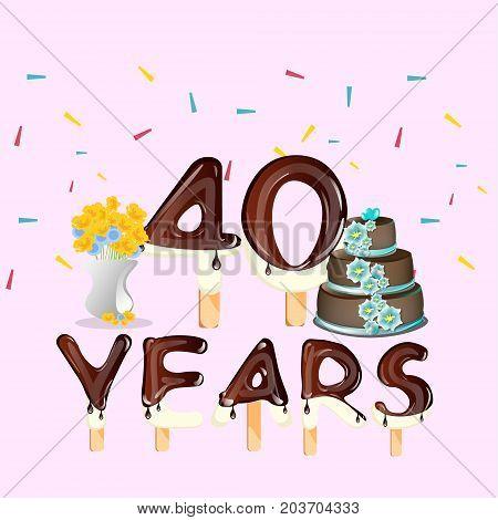 40th Anniversary Celebration Design card. Vector illustration