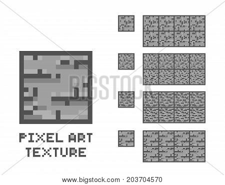 Vector pixel art stone texture. Stone wall pattern. Retro game element sprite isolated on white background