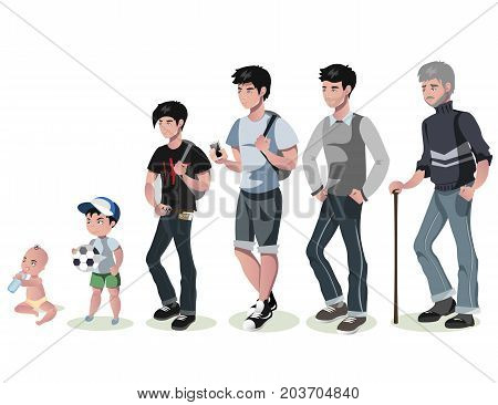Cycle of life for men. From baby to senior. Vector illustration