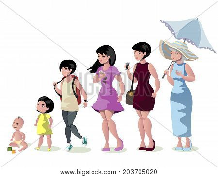Woman stages of development on white background. Vector illustration