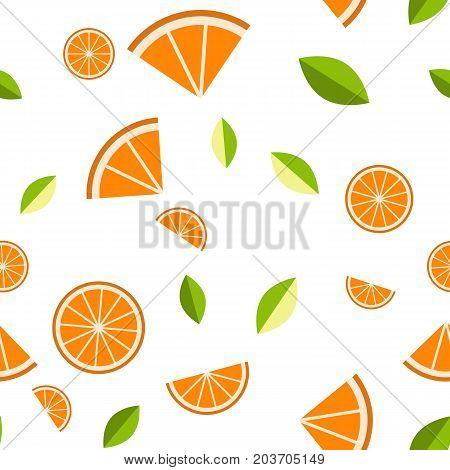 Orange, lemon on white background. Seamless pattern. Vector illustration for web