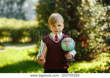 Cute boy going back to school. Child with books and globe on first school day