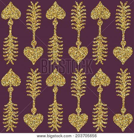 A brilliant gold glitter in the form of a hand drawn love heart cupid arrow symbol. Elegant decoration of gold round sequins. A small scattering of gold circles in the heart shape