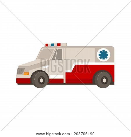 vector flat cartoon ambulance car. Paramedic emergency auto. Medical evacuation service rescue vehicle. Hospital transport. Isolated illustration on a white background