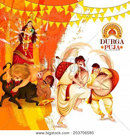 vector illustration of Happy Durga Puja festival background for India holiday Dussehra