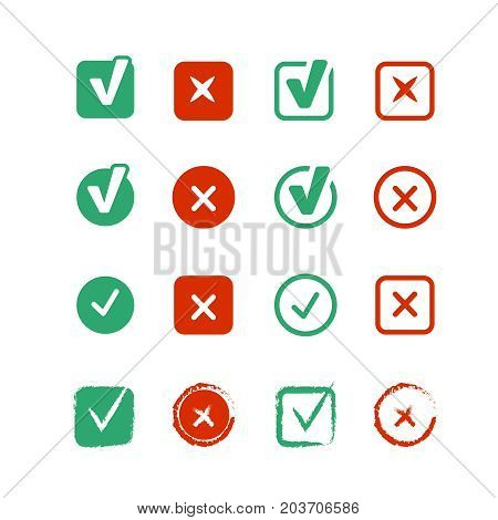Web ui elements for approve information. Checkboxes set. vector colored icons set