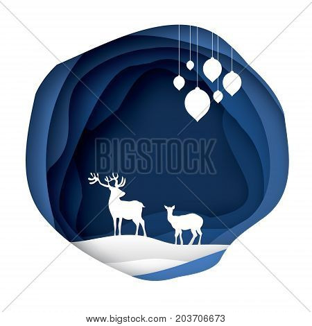 Paper cut deer couple in snowy nature. Merry Christmas Greeting card. Origami winter season. Happy New Year. Paper art style. Blue Circle cave layered frame. Garland. Vector illustration