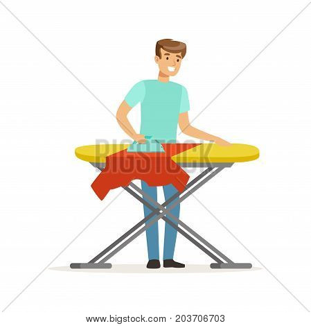 Young smiling man ironing clothes on ironing board, house husband working at home vector Illustration on a white background