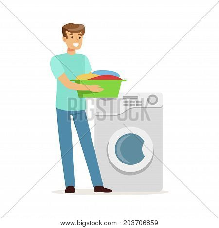 Young smiling man doing laundry, holding basin full of dirty laundry, house husband working at home vector Illustration on a white background
