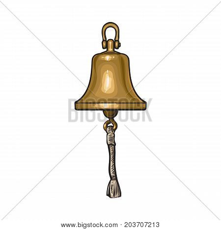 Antique brass, copper ship bell with rope, cartoon vector illustration isolated on white background. Cartoon hand drawn illustration of shiny antique brass ship bell
