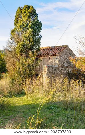 Old Little Stones House In Provence