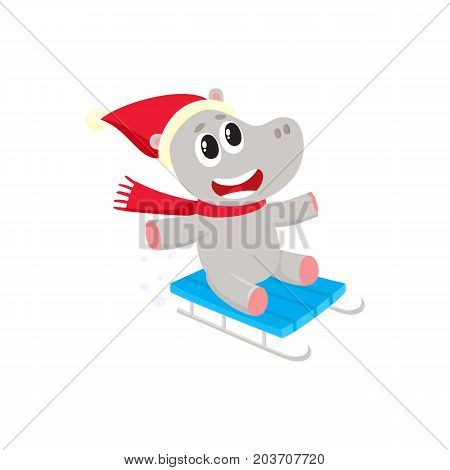 Cute little hippo character riding a sled in hat and scarf, winter activity, cartoon vector illustration isolated on white background. Little baby hippo animal character riding sled, enjoying winter