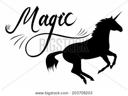 unicorn silhouette with text. Inspirational illustration design for print, banner, poster. Magic phrase on unicorn.