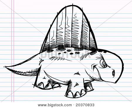 Notebook Sketch doodle Mean Nasty Dinosaur Vector Illustration poster