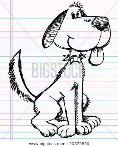 Notebook Sketch doodle Dog Vector Illustration poster