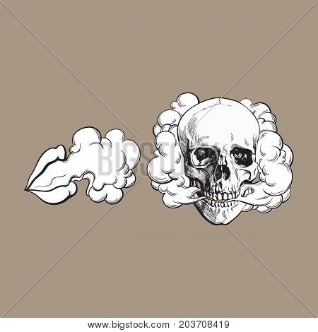 Smoke coming out of skull and female lips, sketch vector illustration isolated on color background. Hand drawn smoking skull and woman lips emitting clouds of smoke