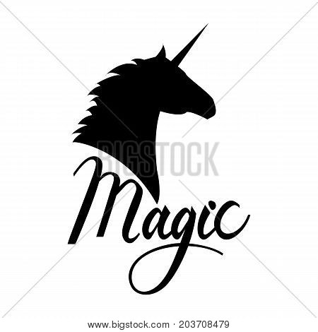 unicorn head silhouette with text. Inspirational illustration design for print, banner, poster. Magic phrase on unicorn.