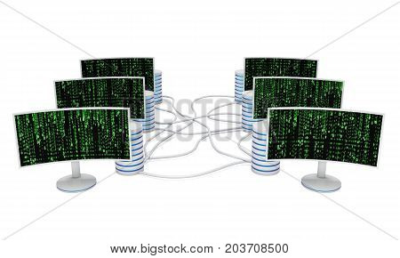 Block chain. Datacenter server net. White Curved LCD tv screens server hard disks and abstract matrix binary computer code. 3d render isolated on white.