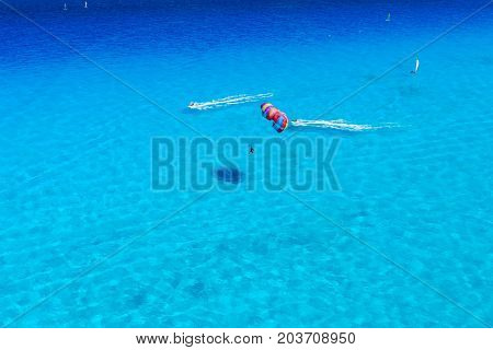 Watersports activity birds eye view at caribbean ocean.
