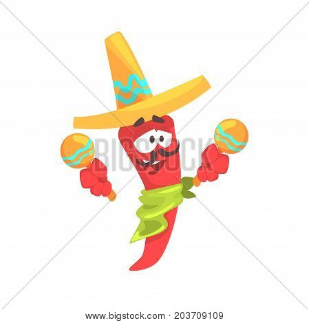 Funny cartoon red pepper character wearing sombrero shaking maracas, mexican traditional humanized food in traditional clothes playing music vector Illustration on a white background