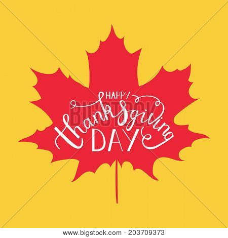 Happy Thanksgiving Day hand lettering greeting card design element with maple leaves