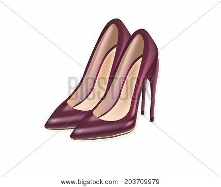 Red sexy shoes Vector illustration. Women stiletto detailed