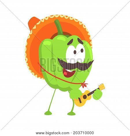 Funny cartoon green pepper character wearing sombrero hat playing guitar, mexican traditional humanized food in traditional clothes playing music vector Illustration on a white background