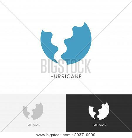 Hurricane logo - storm, tornado or twister symbol. Bad weather, clouds and wind vector icon.