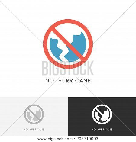 No hurricane logo - storm, tornado or twister symbol and stop sign. Bad weather, shelter and safety vector icon.