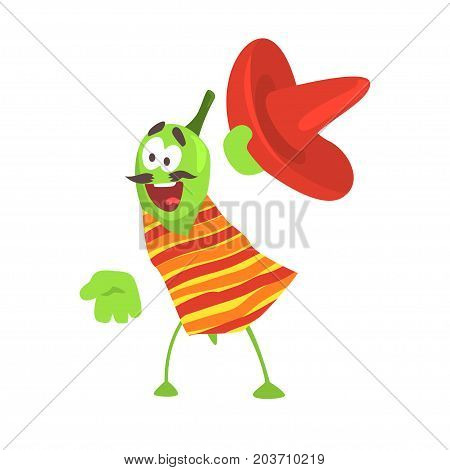 Funny cartoon smiling green pepper character wearing poncho and sombrero hat, mexican traditional humanized food in traditional clothes vector Illustration on a white background