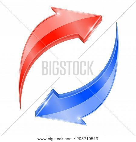 Red and blue arrows in circular motion. Recycling symbol. Vector 3d illustration isolated on white background