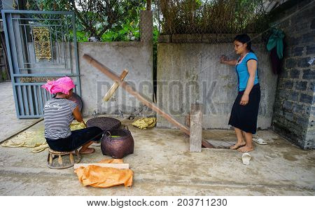 Hmong Women Working At Village In Vietnam