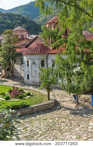 BACHKOVO MONASTERY, BULGARIA - AUGUST 23, 2017:  Panoramic view of Medieval Bachkovo Monastery, Bulgaria