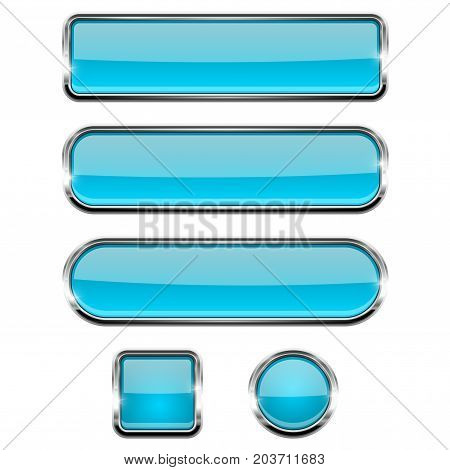 Blue shiny buttons. Round, square and oval glass web icons with chrome frame. Vector 3d illustration isolated on white background