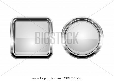 White shiny buttons. Round and square glass web icons with chrome frame. Vector 3d illustration isolated on white background