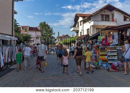 CHERNOMORETS, BULGARIA - AUGUST 16, 2017:  Typical street of village of Chernomorets, Burgas region, Bulgaria