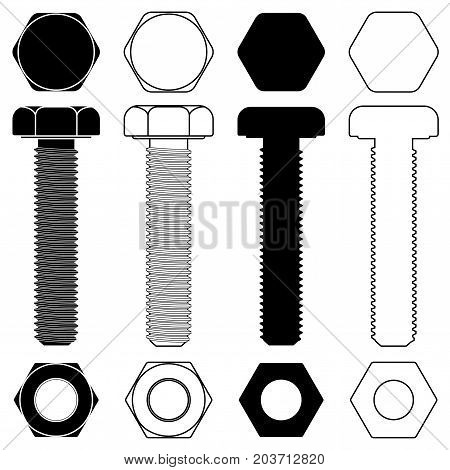 Metal bolt with nut. Outline and silhouette drawing. Vector illustration isolated on white background