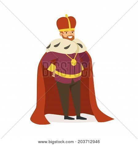 Majestic emperor in red ermine mantle, fairytale or European medieval character colorful vector Illustration on a white background